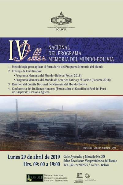Poster Taller Memoria Mundo_Bolivia29abril